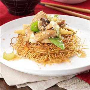 Pork Stir-Fry with Noodle Nests Recipe