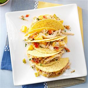 Pressure Cooker Mango-Pineapple Chicken Tacos Recipe