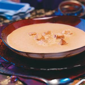 Pumpkin Soup with Cinnamon Croutons Recipe