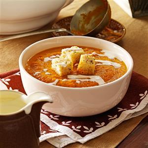 Pumpkin Soup with Sourdough Sage Croutons Recipe
