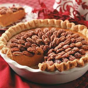 Pumpkin-Sweet Potato Pie with Sugared Pecans Recipe