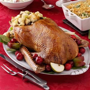 Roast Goose with Apple-Raisin Stuffing Recipe