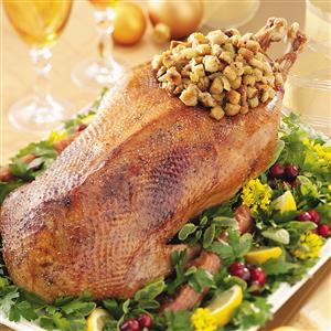 Roasted Goose with Savory Garlic Stuffing Recipe
