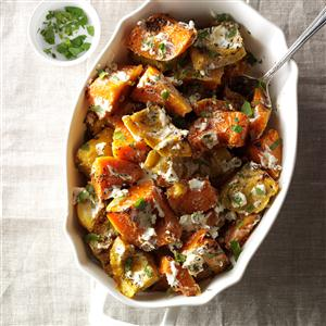 Roasted Herbed Squash with Goat Cheese Recipe