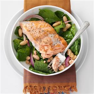 Roasted Salmon & White Bean Spinach Salad Recipe