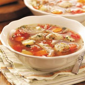 Roasted Veggie and Meatball Soup Recipe