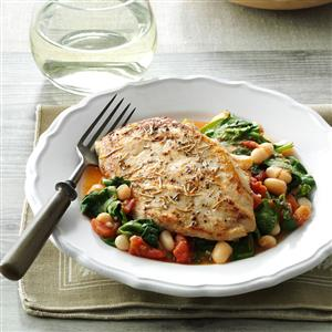 Rosemary Chicken with Spinach & Beans Recipe