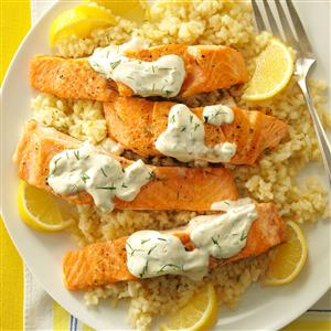 Salmon with Dill Sauce & Lemon Risotto Recipe