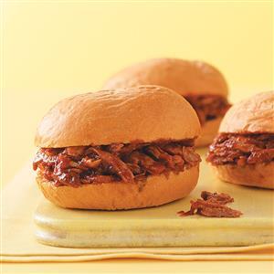 Saucy Barbecued Pork Sandwiches Recipe