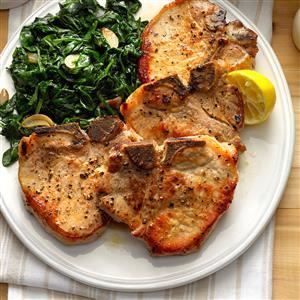 Sauteed Pork Chops with Garlic Spinach Recipe