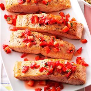 Seared Salmon with Strawberry Basil Relish Recipe