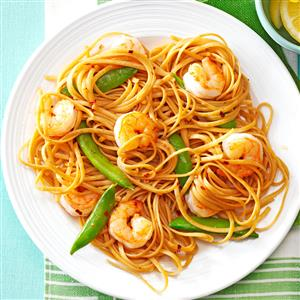 Sesame Noodles with Shrimp & Snap Peas Recipe
