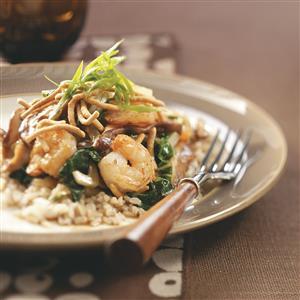 Shrimp & Shiitake Stir-Fry with Crispy Noodles Recipe