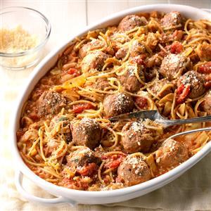 Spaghetti and Meatball Skillet Supper Recipe