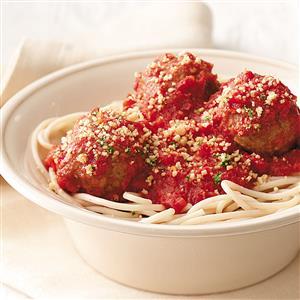 Spaghetti and Meatballs with Garlic Crumbs Recipe