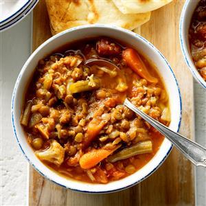 Spicy Veggie & Lentil Soup Recipe