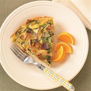 Spinach & Bacon Hash Brown Quiche Recipe