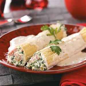 Spinach Manicotti with Ham Recipe