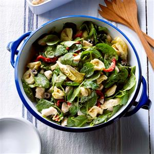 Spinach Salad with Tortellini & Roasted Onions Recipe