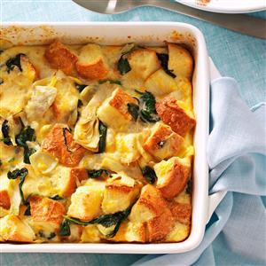 Spinach and Artichoke Bread Pudding Recipe