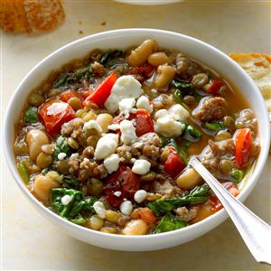Spinach and Sausage Lentil Soup Recipe