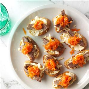 Steak Crostini with Carrot-Horseradish Marmalade Recipe