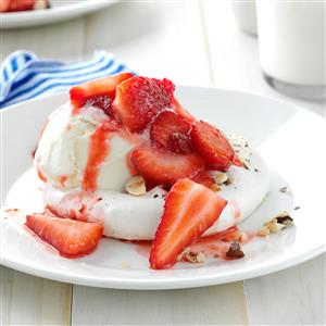 Strawberry-Hazelnut Meringue Shortcakes Recipe