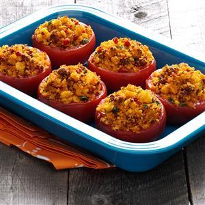 Stuffed Tomatoes with Chorizo and Corn Bread Recipe