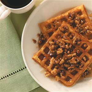 Sweet Potato Waffles with Nut Topping Recipe