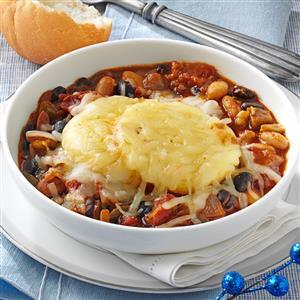 Three-Bean Chili with Polenta Crust Recipe
