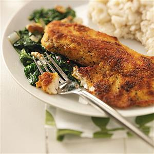Tilapia with Sauteed Spinach Recipe
