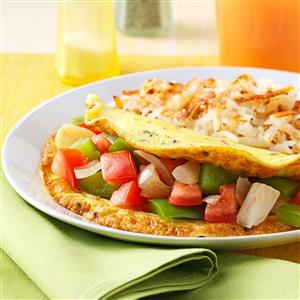 Tomato and Green Pepper Omelet Recipe