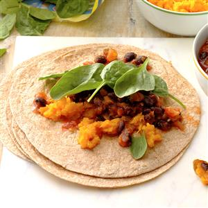 Tropical Squash and Black Bean Burritos Recipe