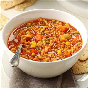 Turkey & Noodle Tomato Soup Recipe