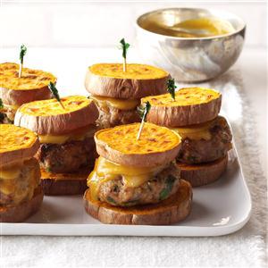 "Turkey Sliders with Sweet Potato ""Buns"" Recipe"