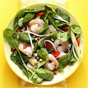 Warm Szechuan Shrimp and Spinach Salad Recipe