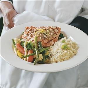 Wild Salmon with Hazelnuts Over Spinach Recipe