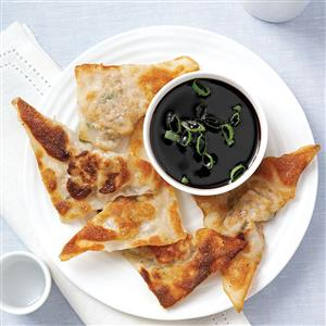 Wonton Pot Stickers with Soy Reduction Recipe
