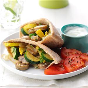 Chicken Sausage Pita Pockets Recipe