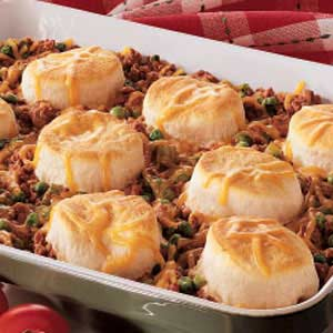 Ground beef 39 n 39 biscuits recipe taste of home for What meals can i make with ground beef