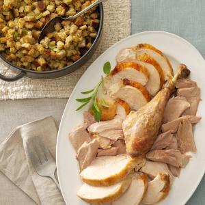 No-Fuss Herb-Roasted Turkey & Stuffing Recipe