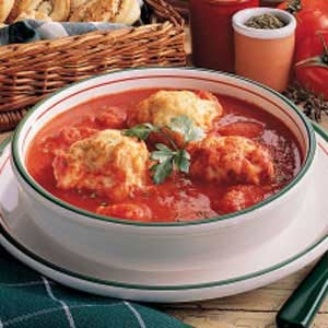 Tomato Soup With Herb Dumplings Recipe
