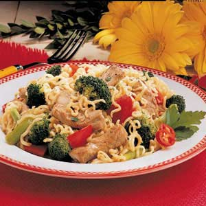 Curly Noodle Pork Supper Recipe