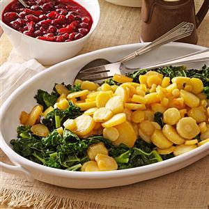 Maple-Glazed Parsnips on Kale Recipe
