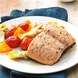 Caesar Salmon with Roasted Tomatoes & Artichokes Recipe