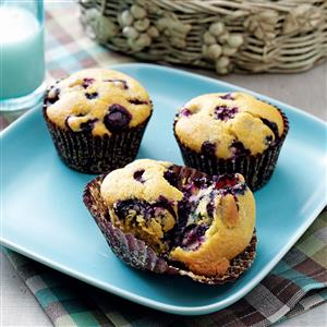 Baked Blueberry Cornmeal Muffins Recipe