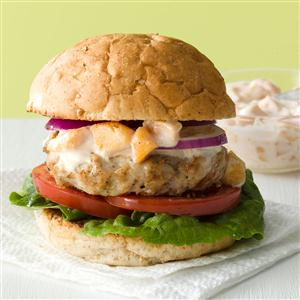Makeover Turkey Burgers with Peach Mayo Recipe