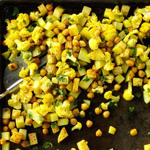 Roasted Curried Chickpeas and Cauliflower Recipe