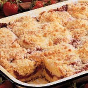 Rhubarb Strawberry Coffee Cake Recipe