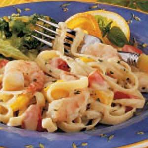 Basil Shrimp Fettuccine